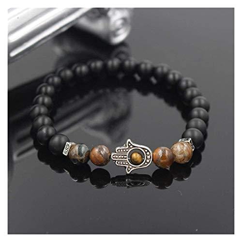 Mujer pulsera, 7 chakra 8mm negro ágata brazalete elástico brazalete de mármol rojo plata joyería de joyería de joyería de raza de yoga reiki de la joyería de la joyería del encanto ilimitado Pulsera