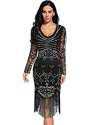 Women's Vintage 1920s Sequin Floral Midi Gatsby Flapper Prom Club Dress