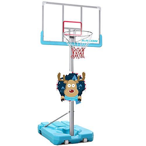 MaxKare Basketball Hoop Goal Portable Poolside Basketball System Set Stand Adjustable Height 47''-79'' Outdoor Indoor for Kid Adult Pool W Aluminum Alloy Anti-Rust Large Backboard