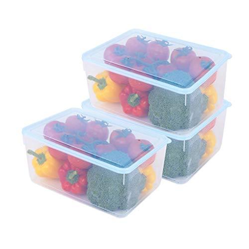 WCN Contenedores de Alimentos Fridge Organizer Caso apilable Portátil con Tapas de Almacenamiento para Peces Carne Verduras Frutas (Quantity : 3)