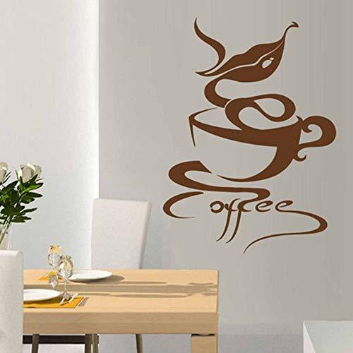 WERWN Calcomanías de cafetería Bebidas Calientes Capuchino café decoración de Interiores Vinilo Pegatinas de Pared Aroma Labios Puertas y Ventanas calcomanías murales