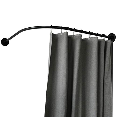 WEWE Adjustable Extendable Stainless Steel Curtain Rod Rail,Bath Tub Curved Shower Rod Curtain Poles Including Fittings Black-a