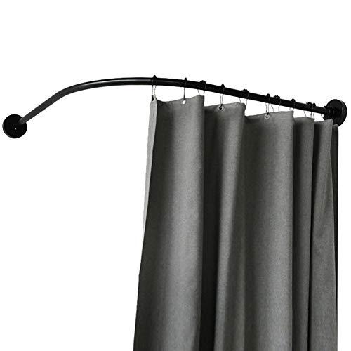 WEWE Ajustable Extensible Acero Inoxidable Barras Cortinas Carril,bañera Barra Cortina Ducha Esquina Postes De Cortina Incluyendo Accesorios Negro-c