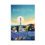 Lienzo con impresión de Barcelona, España, para pared, decoración de dormitorio, paisaje, oficina, habitación, decoración, regalo de 50 x 75 cm