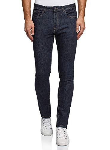 oodji Ultra Uomo Jeans Slim Fit a Vita Media, Blu, 33W / 34L