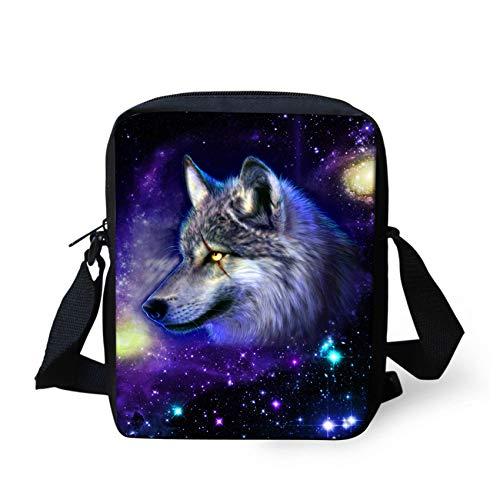 HUGS IDEA Galaxy Wolf Small Crossbody Bag Mini Handbag Shoulder Messenger Bags Cellphone Pouch Purse Wallet