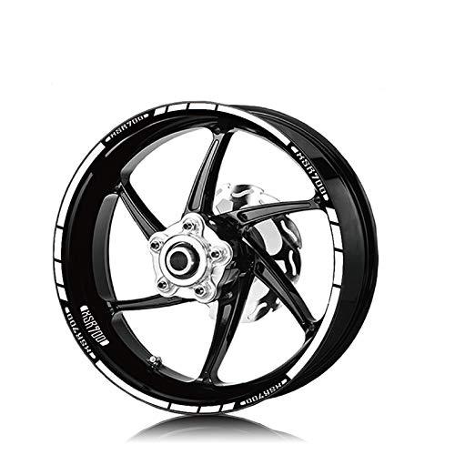 WUYOUNYL Motorradfront- und Hinterreifen wasserdicht Logo Aufkleber reflektierender Stripe Rim Decal Set passt für...