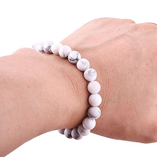 XQxiqi689sy Pulsera elegante de 8 mm para mujer, de cuentas elásticas, ideal como regalo de cumpleaños blanco