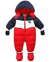 RUIMING Newborn Baby Snowsuit Infant Winter Coat Hooded Zipper Jumpsuit Outwear Footed Romper (18-24 Months)
