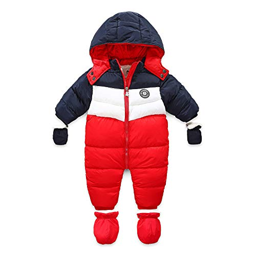 RUIMING Newborn Baby Snowsuit Infant Winter Coat Hooded Zipper Jumpsuit Outwear Footed Romper (18-24 Months)