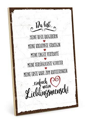 TypeStoff Holzschild mit Spruch – DU BIST Mein LIEBLINGSMENSCH – im Vintage-Look mit Zitat als Geschenk und Dekoration zum Thema Freundschaft, Vertrauen und Geborgenheit (M - 19,5 x 28,2 cm)