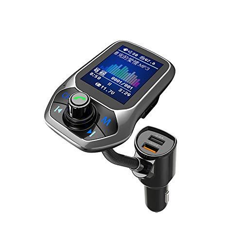 Bluetooth FM-Sender für Auto, Bluetooth-Auto-Adapter, 4-in-1-Auto-MP3-Player mit 1,8-Zoll-Farbdisplay, AUX-Eingang/-Ausgang, 3 USB-Anschlüsse, S-Freisprechanruf, SD-/TF-Karte, QC3.0,5 EQ-Modi