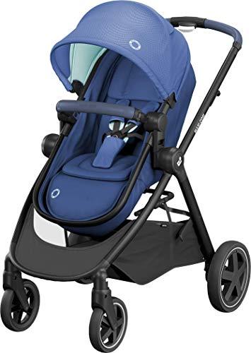 Maxi-Cosi Zelia 2 in 1 Kinderwagen, Hängematte verwandelt sich in eine Babywanne, Liegeposition, einfaches Klappsystem, Essential Blue