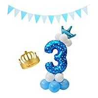 oshhni Confetti Balloons Garland Wedding Banner With Number に適用 Premier - 青い, 3