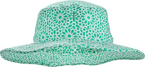 Coolibar UPF 50+ Kids' Surfs Up Bucket Hat - Sun Protective (Small/Medium- Sea Mint Star Geo)