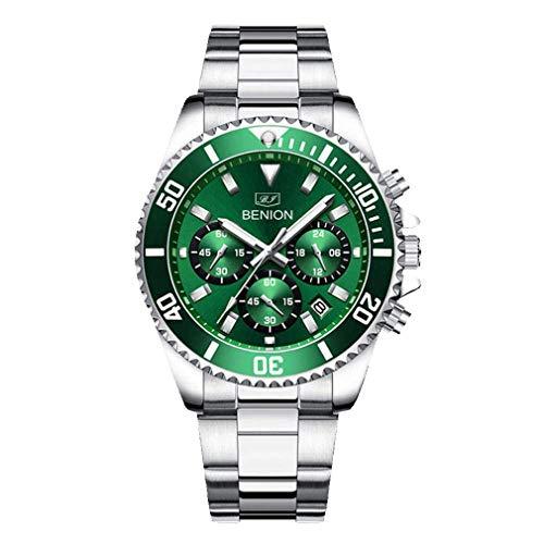 BENION Reloj de pulsera para hombre con cronógrafo, resistente al agua, analógico, de cuarzo, de acero inoxidable, luminoso, para hombre, verde, Pulsera