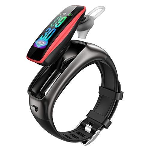 WMB TB02 Pulsera De Fitness Auriculares Inalámbricos Bluetooth 2 En 1 Pedómetro Monitor De Ritmo Cardíaco Rema De Llamadas RECORDATORIO A Prueba De Agua Reloj Inteligente,C