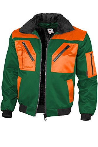Qualitex - Pilotenjacke 4 in 1, Grün/Warnorange , XL
