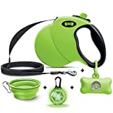 Ruff 'n Ruffus Retractable Dog Leash + Free Waste Bag Dispenser and Bags +Free Bonus Bowl + Free LED...
