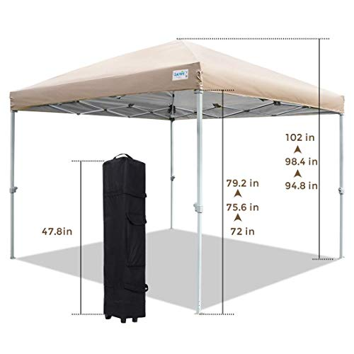Quictent 10x10 Ez Pop up Canopy with Mosquito Netting Instant Setup Screen House Room Tent Waterproof with Roller Bag (Tan)