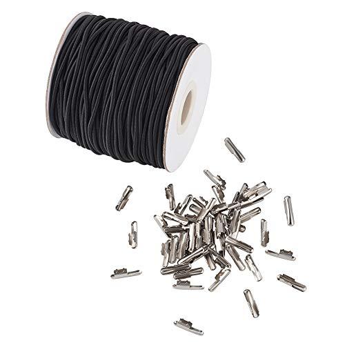 Craftdady 2 mm elastische schwarze Kordel, 43,74 m Stretch runde Schnur gummiband Schlaufe mit Metall-Widerhaken Elastische Schnur Perlen Faden Perlenschnur zum Basteln, Buchbinden