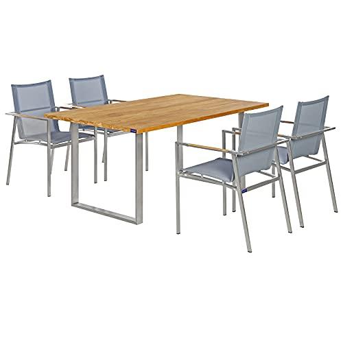 Garland Sitzgruppe Teak Holz Edelstahl Gartentisch 4 Gartenstühle Stapelbar Armlehnen Ergonomisch Gartenmöbel Garten Set