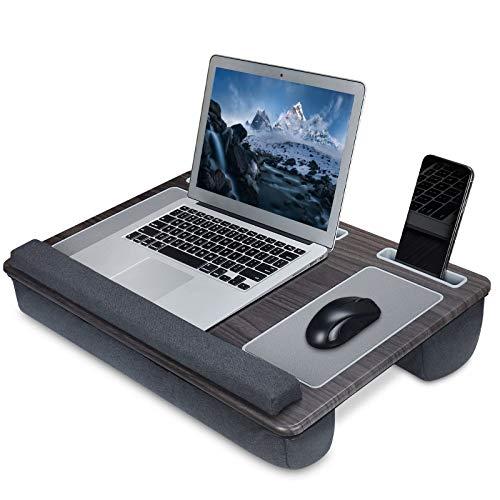 NEARPOW Laptopkissen Laptop Unterlage für Bett mit Mausunterlage und Handgelenkauflage Computerkissen inkl. Tablet- und Telefonhalter Für Essen, Arbeiten, Schreiben, Spielen Schwarz-grau