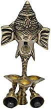 Brass Craft Handcrafted Antique Look Brass Statue/Idol Ganesha Wall Hanging with Diyas and Bells 9 Inch, Weight - 720 GMS
