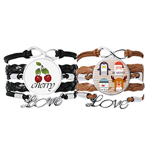 Bestchong Merry mas Tree Reindeer Portrait Bracelet Hand Strap Leather Rope Cherry Love Wristband Double Set