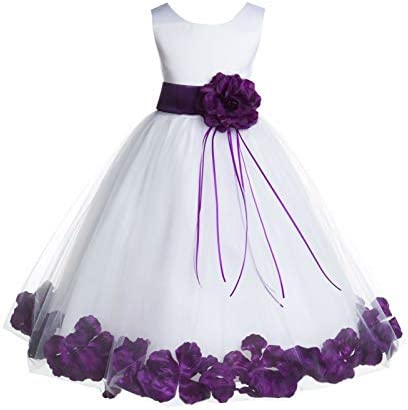 White Tulle Floral Rose Petals Junior Flower Girl Dress Christening Dress 007 6 product image