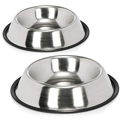 com-four® 2X Hundenapf aus Edelstahl - Fressnapf für Hunde und Katzen - Futternapf mit Gummirand für Hundefutter und Trinkwasser - ca. 25,5 x 5 cm