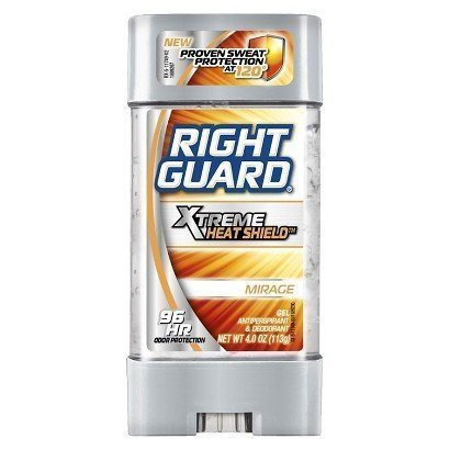 Right Guard Antiperspirant Deodorant - Xtreme Heat Shield - Gel - Mirage - Up To 96 Hour Odor Protection - Net Wt. 4 OZ (113 g) Each - Pack of 4 by Right Guard