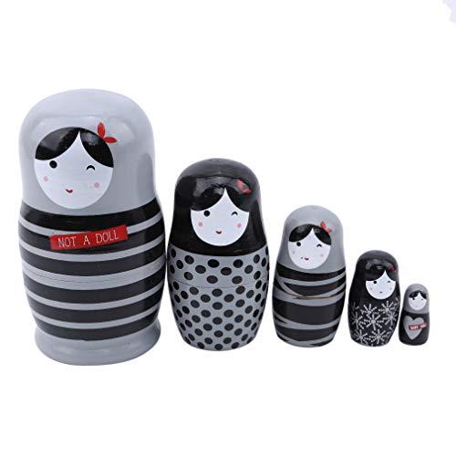 Jixing hölzerne russische Puppe minimalistisch gestreiftes Mädchen Matroschka fünfschichtiges Spielzeug Bastelgeschenk für Kinder