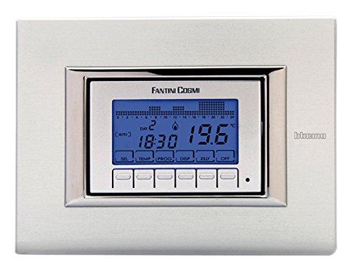 Fantini Cosmi CH141A Cronotermostato Settimanale da Incasso a Batterie, Bianco/Silver/Antracite