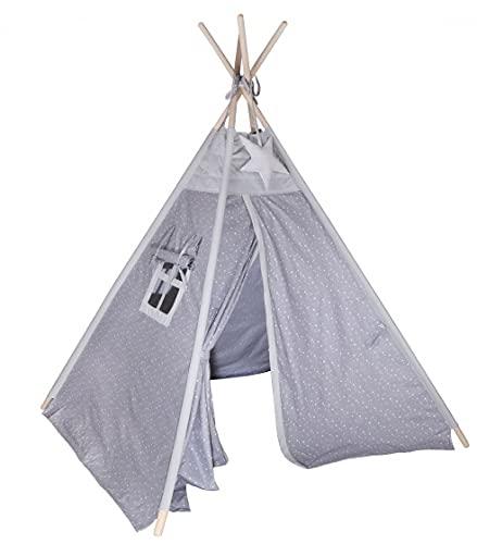 Kinder Hop Tipi Pow-Wow - Tienda de campaña (170 cm, polialgodón, 2 piezas), color gris