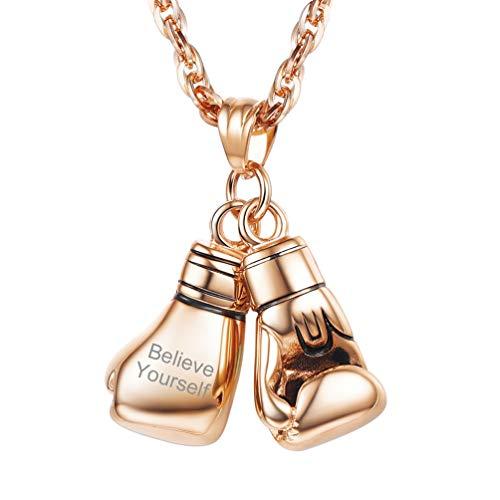PROSTEEL Herren Halskette personalisiert Handschuhe Anhänger mit 60cm Singapurkette Rosegold vergoldet Sportliche Boxhandschuhe Name Gravur Modeschmuck Geschenk für Weihnachten Valentinstag