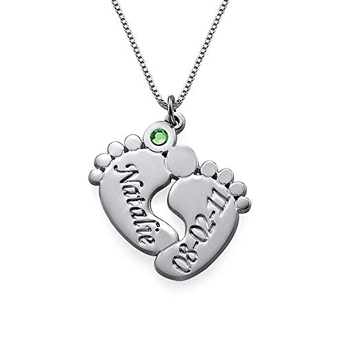MyNameNecklace Engraved Baby Feet Pendant Necklace Crystals Personalized Names Birthstone for Mom (Sterling Silver 0.925)