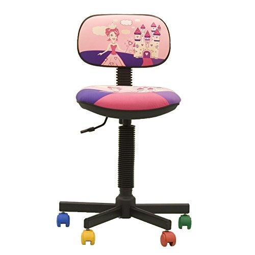 BAMBO- Chaise DE Bureau Enfant Ergonomique, Hauteur du SIÈGE 42 cm-56 cm. Hauteur Dossier RÉGLABLE/PIVOTANT A 360°/ roulettes Multicolores. Prix Discount. (Princesse/Rose)