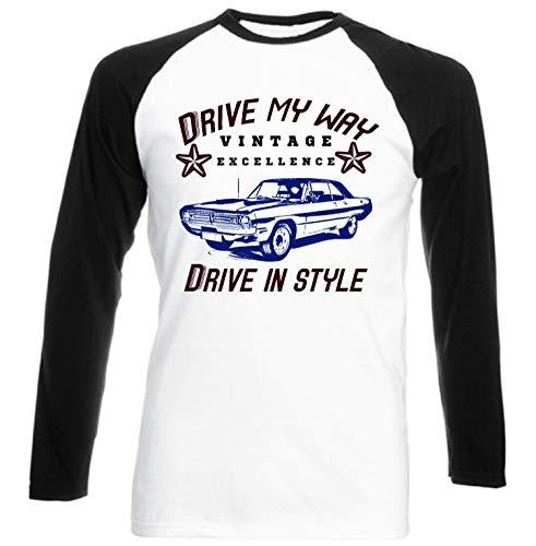 Teesandengines Men's Dodge Dart Swinger Convertible 1970 Drive My Way Black Long Sleeved T-Shirt Size Large