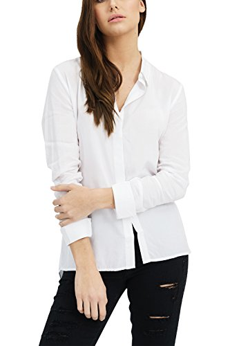 trueprodigy Casual Mujer Marca Blusa Basico Ropa Retro Vintage Rock Vestir Moda Cuello Alto Manga Larga Slim fit Designer Fashion Top Blouse Camiseta, Colores:White, Tamaño:L