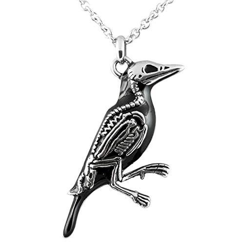 Collar con colgante de calavera de cuervos para hombres y mujeres, colgante gótico retro vikingo, regalo de joyería creativa-45 cm