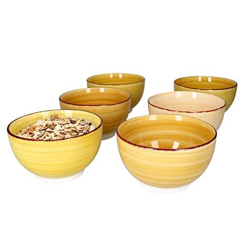 MamboCat 6er Müsli-Schalen-Set Yellow-Baita I robuste Steingut-Schüsseln für 6 Personen I 6X Müsli-Schale mit modernem Strudel-Dekor in tollen Gelb-Tönen I Müsli-Schüssel 600 ml 6 Stück