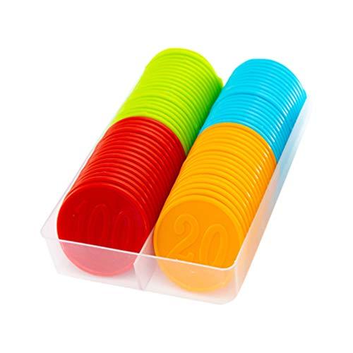 STOBOK Plastikbingochips Färbten Das Zählen Der Stückzahl Gedruckte Chips Die Scheiben für Geschäftshausbar 80Pcs Spielen