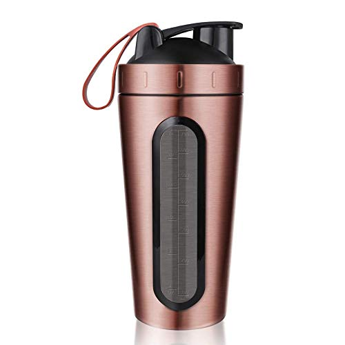 Protein Shaker Bottle Stainless Steel Sports Water Cup Leak Proof Gold 1 Pc