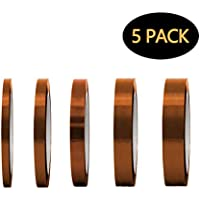 LABOTA 5 Piezas Cinta de Alta Temperatura (3/4/6/8/15MM) Cinta Adhesiva Kapton para Soldar, Recubrimiento en Polvo, Sublimación, Placa de Circuito Aislantes (30M)