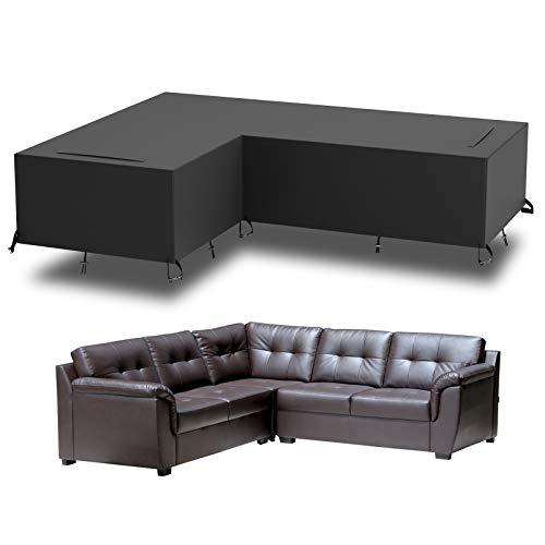 GEMITTO Funda Impermeable para Muebles de jardín, sofá Jardin Exterior en Forma de L, para sofá o ratán (Brazo Derecho Largo y Brazo Izquierdo Corto)