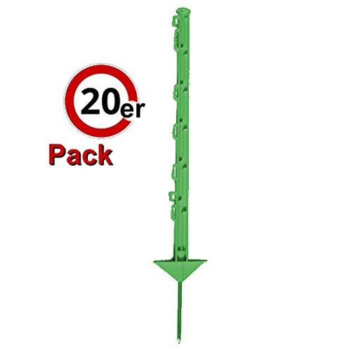 Göbel PP Copo GF Lot de 20 piquets de clôture 75 cm 5 passe-rubans 2 passe-fils avec pointe en acier Vert