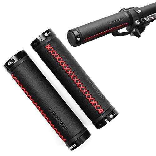 ZOOENIE 1 Paar Retro Leder Bike Lenker Racing Fahrrad Motorrad Griff Bar, Aluminium Lock-auf, Grip Abdeckung Nicht-Slip Radfahren Reiten Griffe, für Durchmesser 22mm Fahrradlenker (Schwarz+Rot)