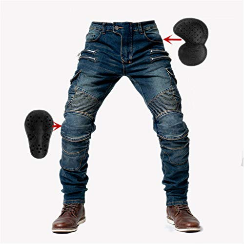 SHUOJIA Hombre Motocicleta Pantalones Jeans Con Protección Motorcycle Biker Pant 4 X Equipo De Protección (Blue,L)