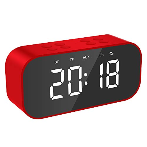 KABINA Unisex Youth LED-wekker, draadloze bluetooth-spiegel, draagbaar, mini-stereo-installatie voor buiten, geïntegreerde microfoon, handsfree bellen, HD-luidsprekers, rood, klein